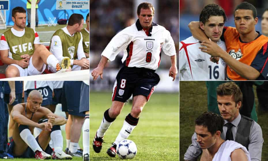 The omission of Paul Gascoigne, centre, affected England in 1998 and, clockwise from top left, there was despair in 2014, 2006, 2010 and 2002.