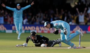 Jos Buttler runs out New Zealand's Martin Guptill to seal England's World Cup triumph at Lord's.