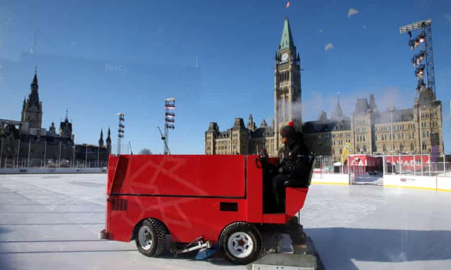 A Zamboni attempts to groom the ice surface on the ice rink on Parliament Hill in Ottawa but the cold snap means no hockey for the time being.