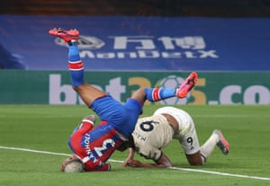 Van Aanholt lands awkwardly after Martial scored.