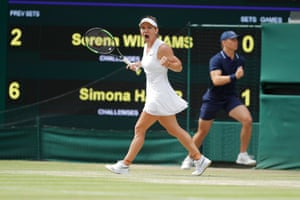 Halep celebrates during the match.