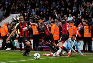 Manchester City's Gabriel Jesus crashes into the corner flag after clashing with Bournemouth's Adam Smith as City win 1-0 at The Vitality Stadium.
