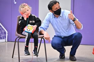 Anas Sarwar, the Scottish Labour leader, on a campaign visit to a mother and toddler group at a community centre in Maryhill in Glasgow today.