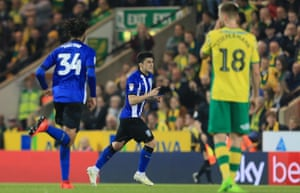 ...and celebrates as Norwich players look stunned.