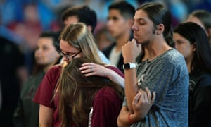 Students at the town hall, where there was much talk of the need to ban assault weapons.