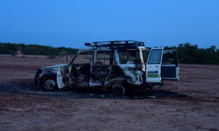 The wreckage of the Toyota 4x4 in which six French aid workers, their local guide and their driver were killed.