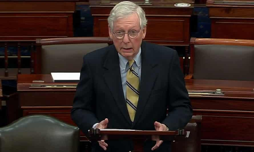 Mitch McConnell speaks after the Senate voted to acquit Trump on Saturday.