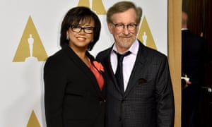 Cheryl Boone Isaacs and Steven Spielberg at the nominees' luncheon in Los Angeles on Monday.
