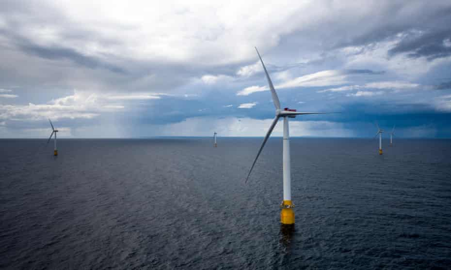 The world's first floating wind farm 15 miles offshore of Aberdeenshire, in Scotland. The 30 megawatt wind can power approximately 20,000 households