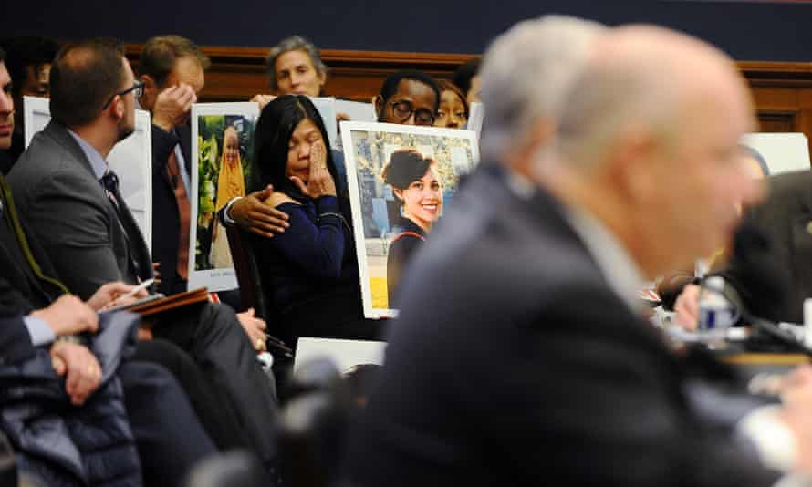 Victims of the 737 Max plane crashes at the hearing in Washington on Wednesday.