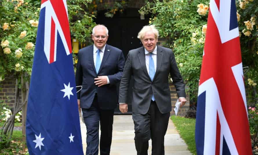 Boris Johnson and Australia's prime minister, Scott Morrison, in the garden of 10 Downing Street, London.