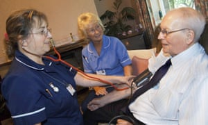Discharged elderly patient is visited in his home by district nurse & health support worker to check his blood pressure