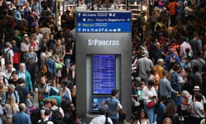 Disrupted Eurostar trains at St Pancras. But when is a cancelled train not cancelled. When it's 'delayed'.