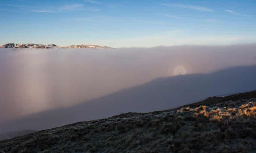 A fogbow and brocken spectre near Heron Pike, during a temperature inversion in the Lake District.