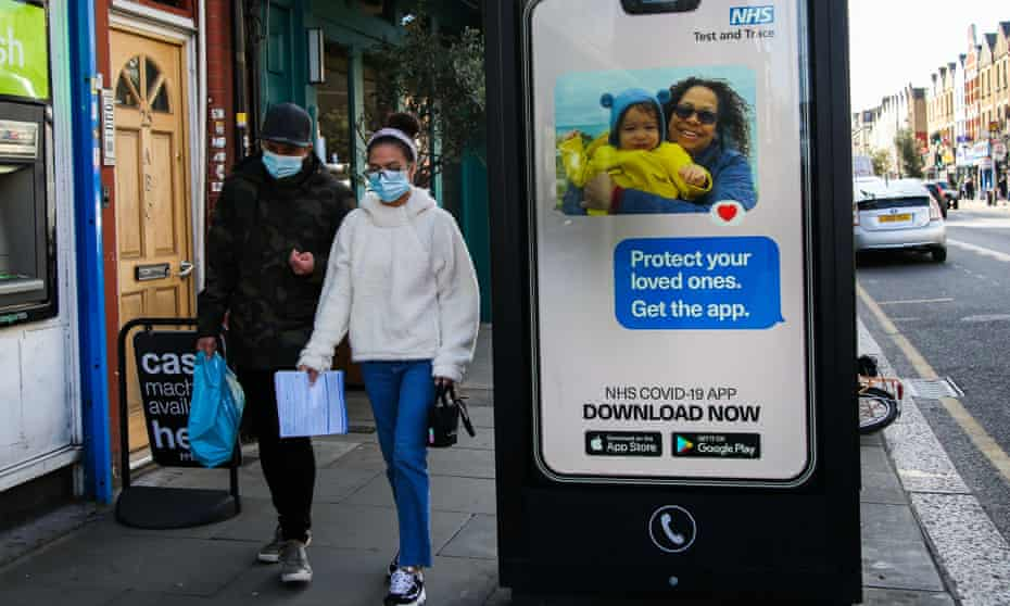 An advert for the NHS test and trace app in London, September 2020