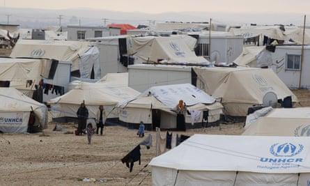 Syrian refugees in the UN-run Zaatari refugee camp, north east of the Jordanian capital Amman.