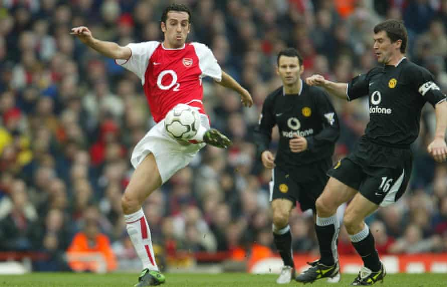 Edu, seen here winning the ball from Roy Keane in 2004, was part of Arsenal's 'Invincibles' squad.
