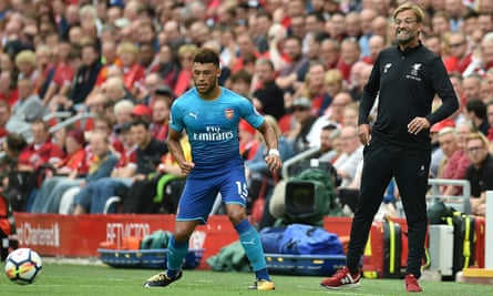 Alex Oxlade-Chamberlain playing for Arsenal at Liverpool