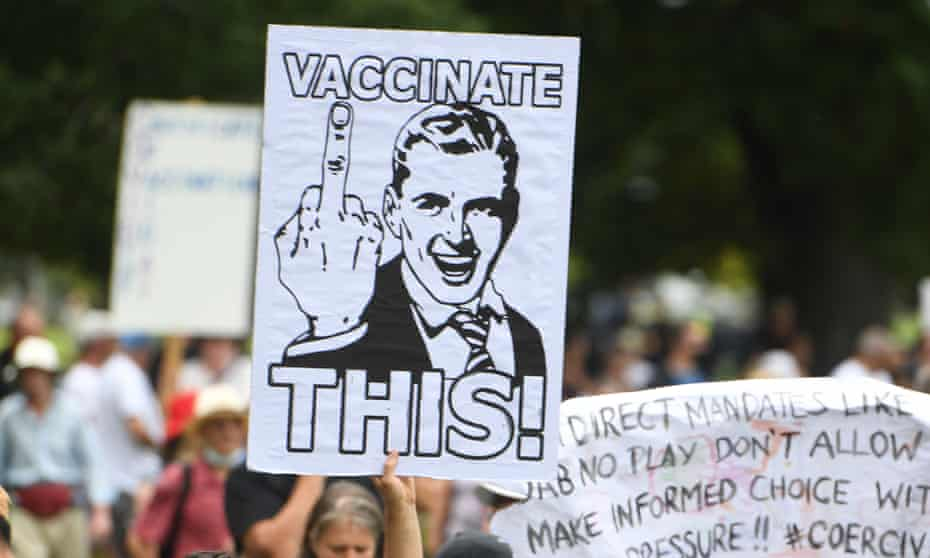 A sign at an anti-vaccination rally in Melbourne