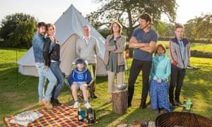 The original Camping, which also starred Davis's podcast partner Vicki Pepperdine, centre.