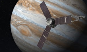 Artist's impression of the Juno spacecraft and Jupiter