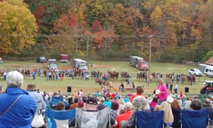 Horse Pullling competition at the Blue Ridge Folklife Festival, Ferrum, Virginia.