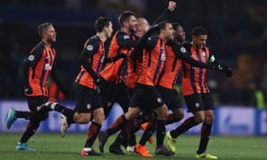 Fred, second right, is congratulated by his Shakhtar Donetsk team-mates after his fabulous winner.