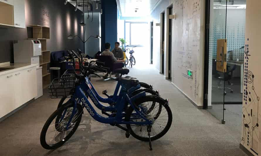Bluegogo bicycles at an office in Shenzhen, China.