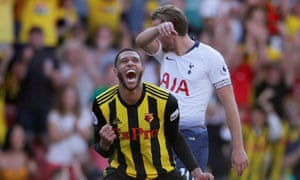 Harry Kane cannot bear to watch as Etienne Capoue celebrates Watford's 2-1 win over Tottenham.