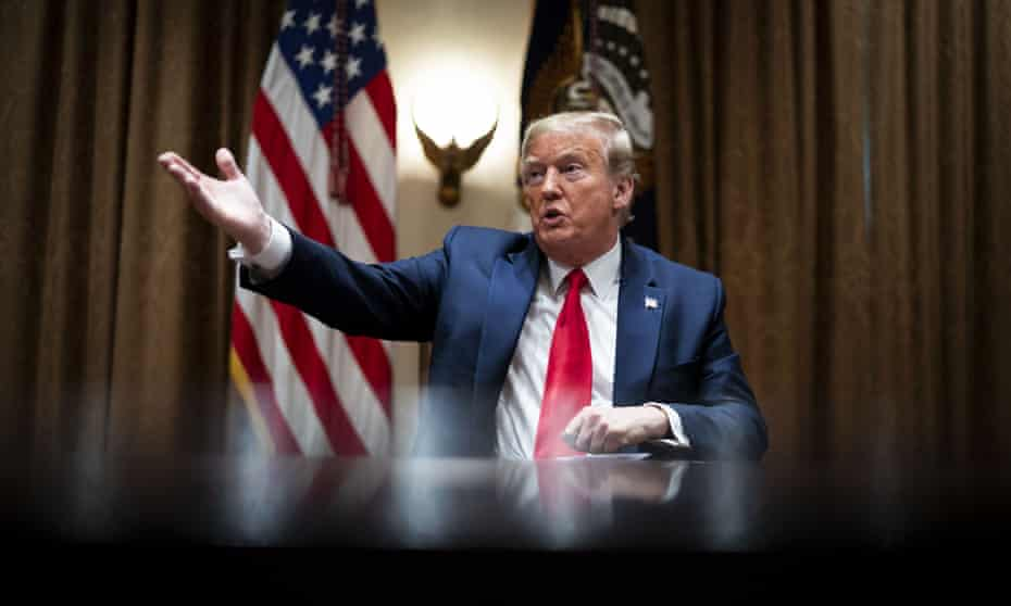 U.S. President Donald Trump speaks during a meeting with healthcare executives in the Cabinet Room of the White House in Washington, D.C., U.S., on Tuesday, April 14, 2020.