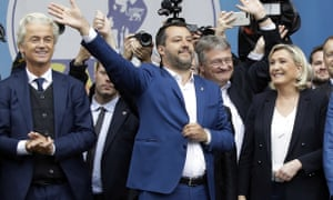 From left, Geert Wilders, leader of Dutch party for Freedom, Matteo Salvini, Jörg Meuthen, leader of Alternative für Deutschland, and Marine Le Pen at a rally in Milan
