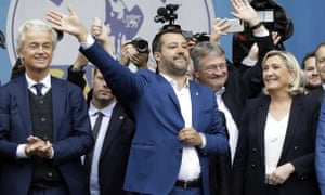From left, Geert Wilders, Matteo Salvini, Jörg Meuthen (leader of Alternative for Germany) and Marine Le Pen in May.