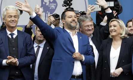Geert Wilders, left, Matteo Salvini, centre, and Marine Le Pen at a rally of European nationalist and far-right parties in Milan.