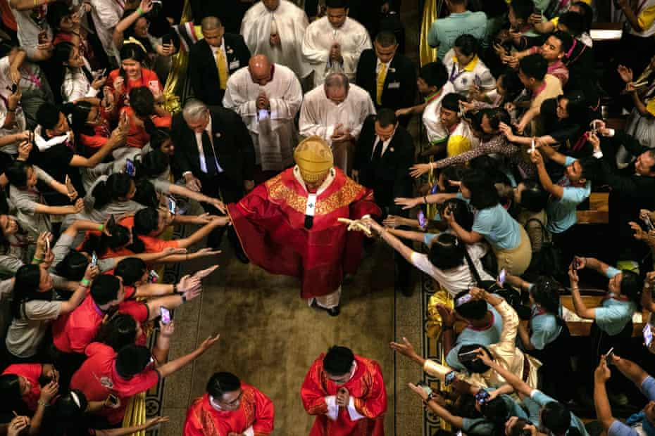 Pope Francis walks out from Assumption Cathedral in Bangkok, Thailand, 22 November