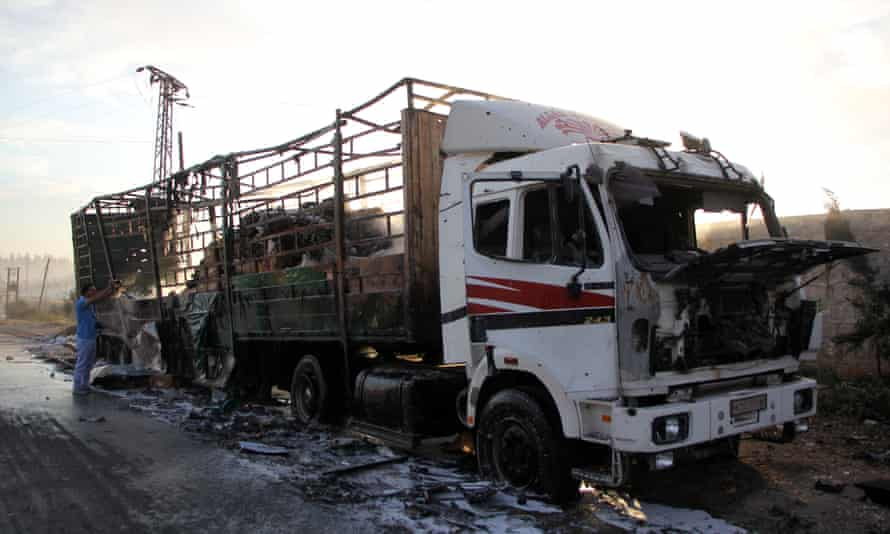 A damaged truck in Aleppo in September 2016, the morning after the aid convoy it was part of was hit by a airstrike.