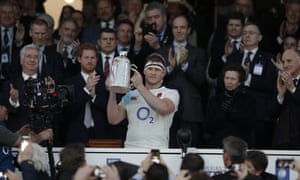 Dylan Hartley lifts the Calcutta Cup.