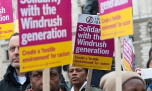 A  'Justice for Windrush' demonstration outside parliament last April