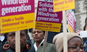Activists and trade unionists outside parliament for Justice for Windrush demonstration