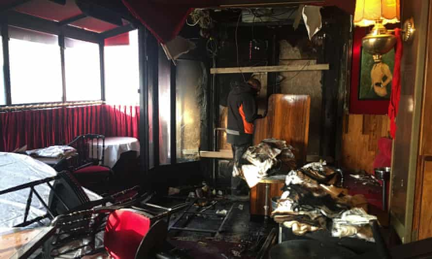 Damage at the Rotonde restaurant, which was firebombed.