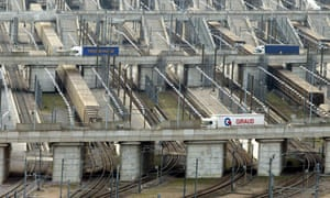 Lorries arrive in the UK from the Channel tunnel. Britain has said it expects outlines of a trade deal settled within a year.