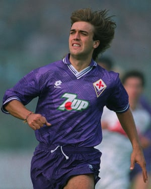 Gabriel Batistuta in action for Fiorentina in October 1992. The forward went on to score 16 goals in Serie A that season.