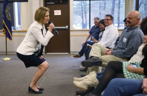 Carly Fiorina speaks during a Timberland Town Hall at the Timberland Global Headquarters in Stratham, New Hampshire.