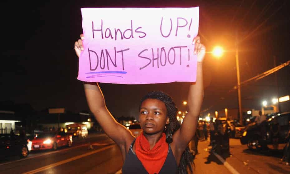 A protest on West Florissant Avenue in Ferguson, Missouri