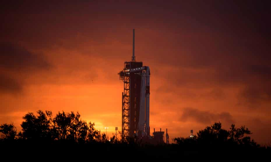 The SpaceX Falcon 9 rocket on the launch pad at Kennedy Space Center in Florida.