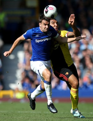Watford striker Troy Deeney and Everton's Seamus Coleman of Everton clash at Goodison Park. The Toffees won 1-0 thanks to Bernard's goal after just 10 minutes. Everton have won five consecutive Premier League home games for the first time since a run of eight under Ronald Koeman in April 2017.