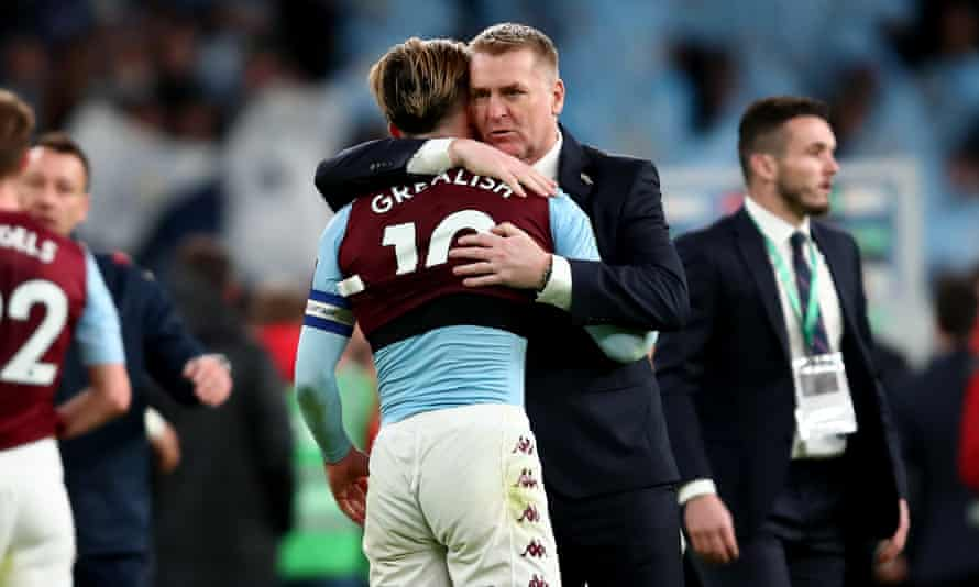 Dean Smith with Jack Grealish after the Carabao Cup final last March.