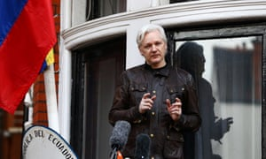 The WikiLeaks founder Julian Assange speaks on the balcony of the embassy of Ecuador in London, Britain, on 19 May 2017.