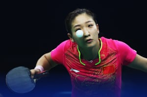 Shiwen Liu of China serves during the women's team table tennis quarter-final against the Democratic People's Republic of Korea
