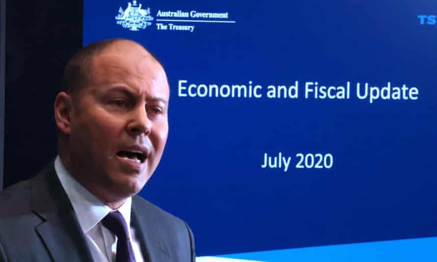 Australian treasurer Josh Frydenberg delivers an economic update