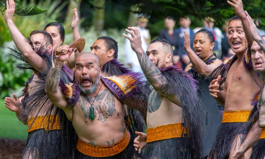 Ceremonial Māori warriors take part in an official ceremony of welcome for Prince Charles and Camilla, Duchess of Cornwall at Government House in Auckland, New Zealand on 19 November 2019.